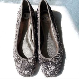 Adrianna Papell Square Toe Sequin Sparkly Flats